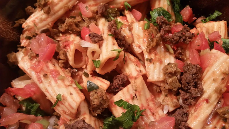 Add our crumbled vegan sausage into any pasta dishes on your menu for a boost of plant-based protein and flavor.