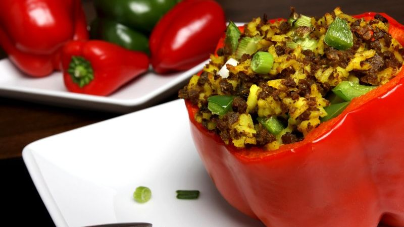 Stuffed peppers made extra special with our Mediterranean style sausage crumble.