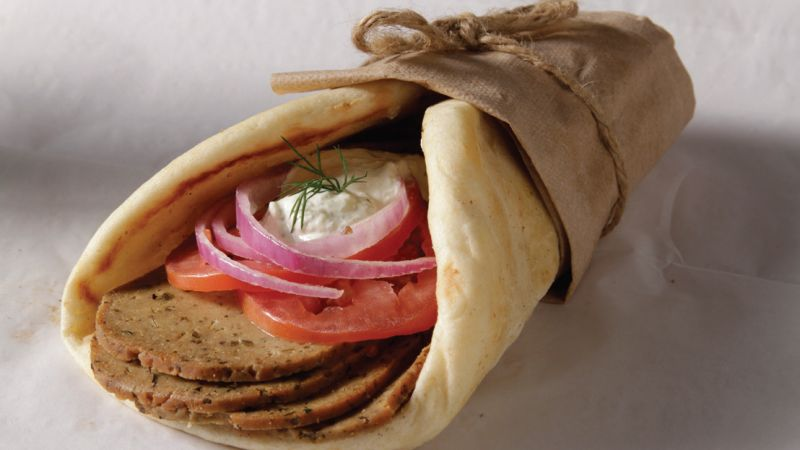 Traditional vegan gyro with creamy vegan tzatziki sauce.