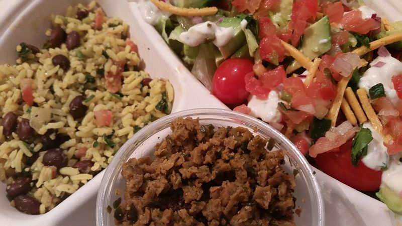 Make your salads into a complete meal by adding chilled vegan sausage crumble to top your favorite salad -- the perfect grab and go!